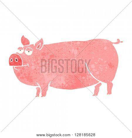 freehand retro cartoon huge pig