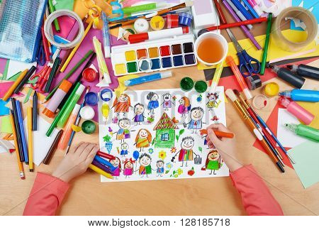 cartoon people collection child drawing, top view hands with pencil painting picture on paper, artwork workplace