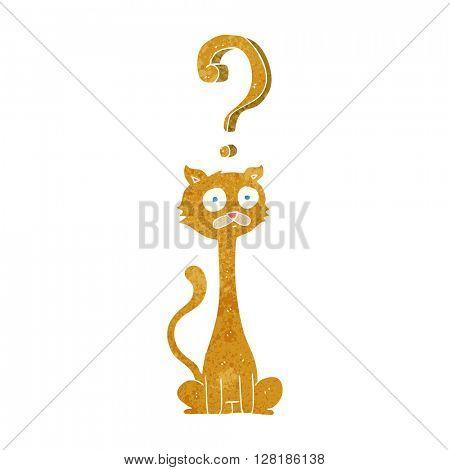 freehand retro cartoon curious cat