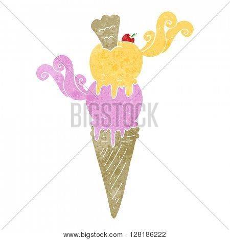 freehand retro cartoon ice cream cone