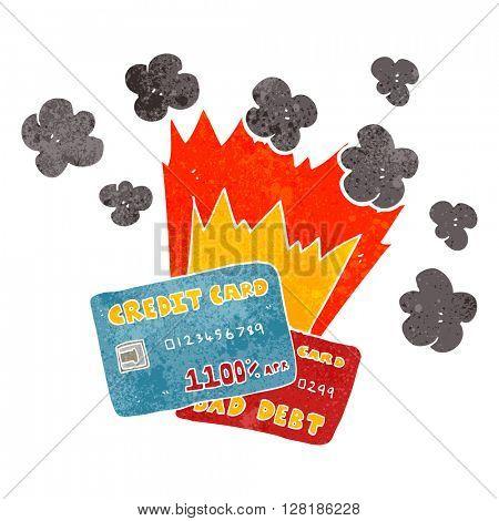 freehand retro cartoon credit card debt