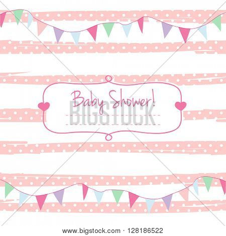 Pink vector card invitation for baby shower, arrival or birthday card with stripes and holiday flag garlands. Cute background in soft pink colors