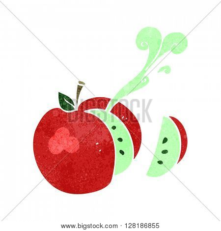 freehand retro cartoon sliced apple