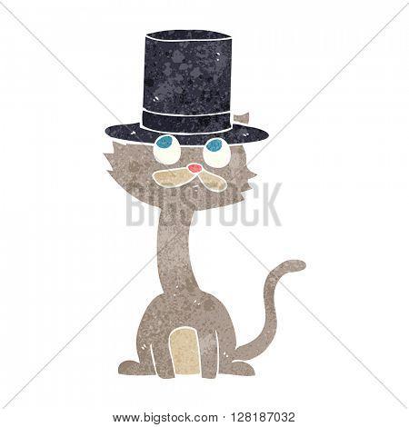 freehand retro cartoon cat in top hat