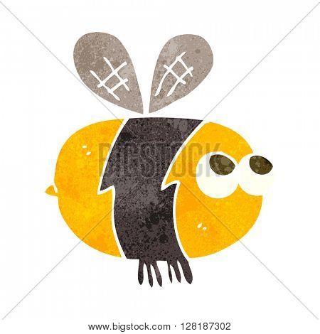 freehand retro cartoon bee