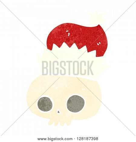 freehand retro cartoon skull wearing christmas hat