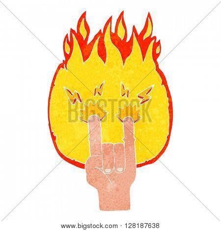 freehand retro cartoon hand making rock symbol