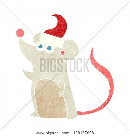 freehand retro cartoon mouse christmas hat