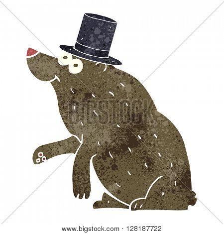 freehand retro cartoon bear in top hat