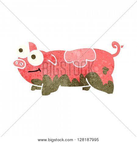 freehand retro cartoon pig