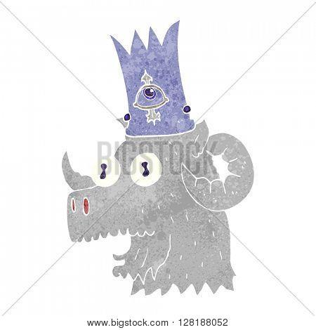 freehand retro cartoon ram head with magical crown