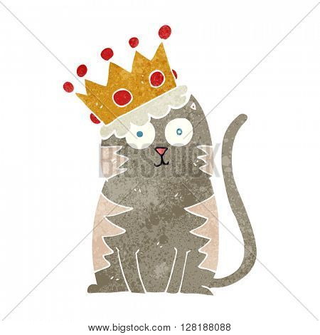 freehand retro cartoon cat with crown