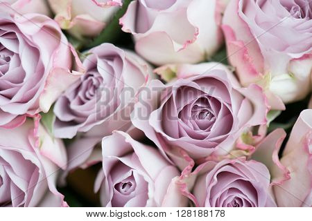 Pink roses decoration. Bouquet of pink roses. Wedding floral arrangement.
