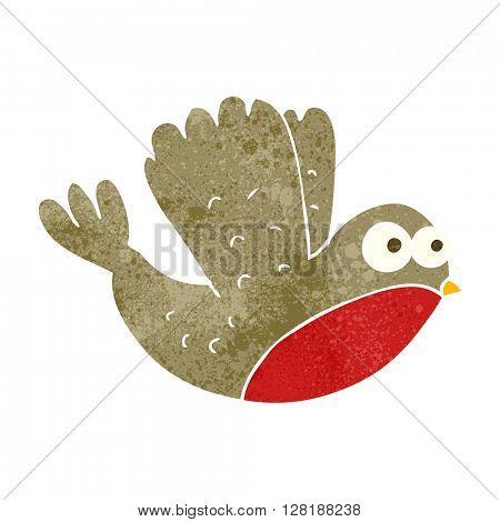 freehand retro cartoon flying christmas robin