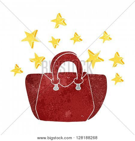 freehand retro cartoon expensive handbag