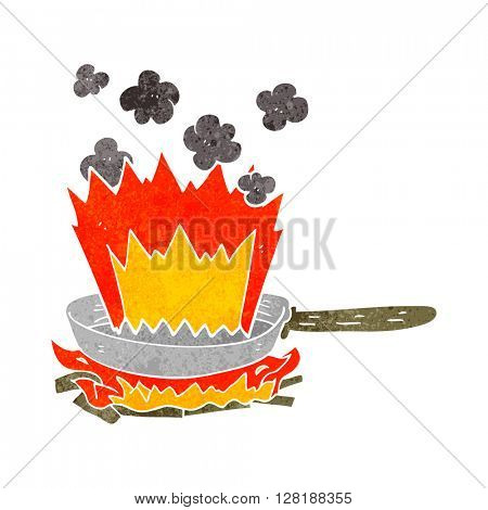 freehand retro cartoon frying pan on fire