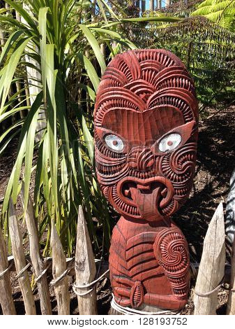 Traditional Maori carving. New Zealand