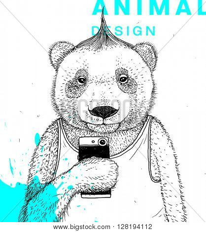 Hand Drawn Bear Making Selfie with Mohawk Hairstyle. Vector Graphic Illustration.