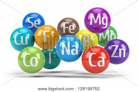 Essential chemical minerals and microelements - healthy diet concept - 3d render