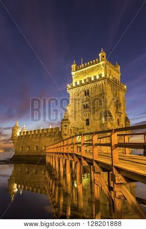 The iconic facade of the Tower of Belem on the bank of the Tagus River