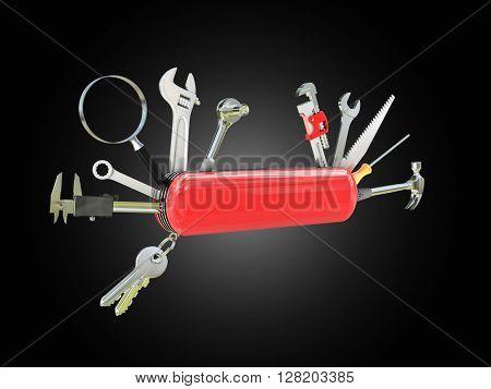 swiss knife multi tool 3d