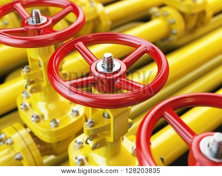Yellow oil or gas pipe line valves. 3d illustration