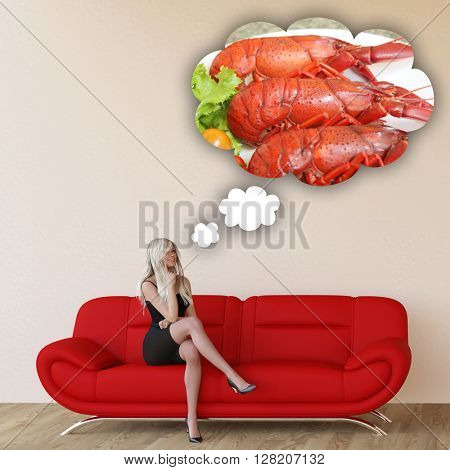 Woman Craving Seafood and Thinking About Eating Food 3D Illustration Render