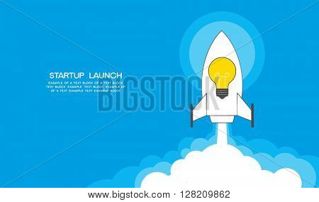 Flat designt startup launch concept. Rocket with the idea of lamp start up. Template for web. Conceptual vector illustration artwork of company startup launch project.  File is saved in AI10 EPS.