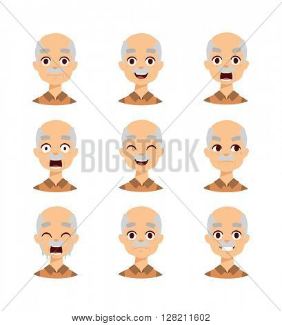 Old man emotions vector icons.