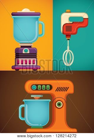 Kitchen appliances. Vector illustration.