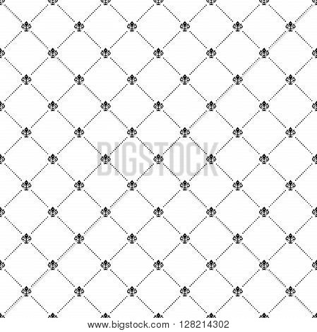 Geometric repeating vector pattern. Seamless abstract modern pattern. Black and white pattern. Fine pattern with diagonal dotted lines. Pattern with king lilies