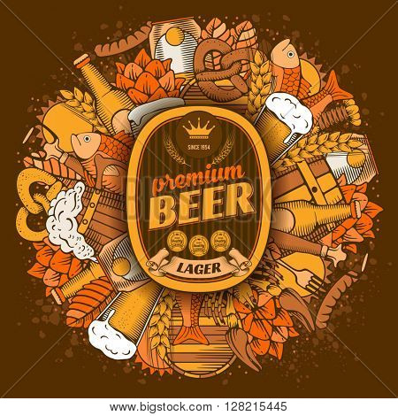 Beer coaster design in Hand Drawn Doodle Style with Different Objects on Beer Theme. Beer and Snack. Paste your company logo in center. All elements are separated and editable. Vector Illustration.