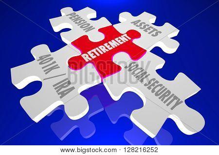 Retirement Savings Plan Financial Advice Puzzle Pieces Words 3d Illustration