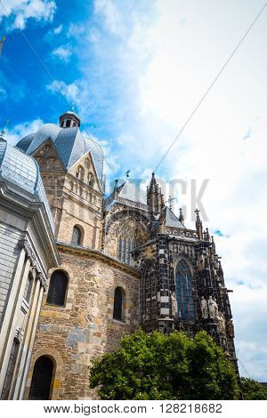 Beautiful street view of Traditional old buildings in Aachen, Germany, Europe