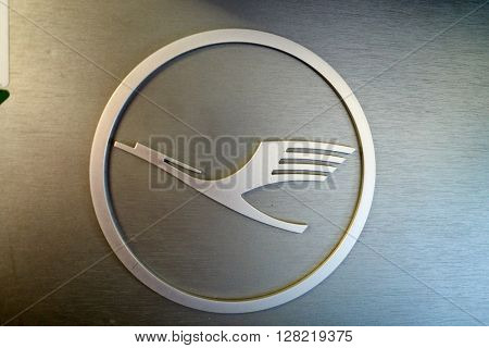 FRANKFURT, GERMANY - MARCH 13, 2016: close up shot of Lufthansa logo. Deutsche Lufthansa AG, commonly known as Lufthansa is a major German airline.