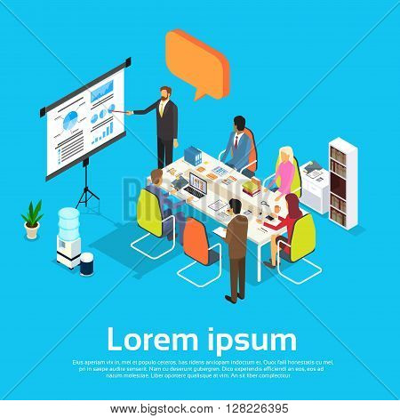Business People Meeting Seminar Training Conference Businesspeople Group Brainstorming Presentation Financial Chart  Isometric Vector Illustration