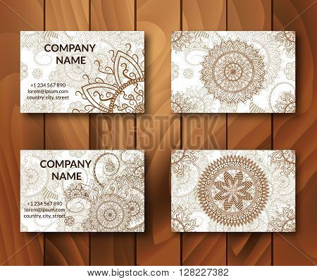 Vintage business cards set. Ornamental mandala. Indian arabic ornaments. Mehndi henna tattoo design. Business card vector design template.