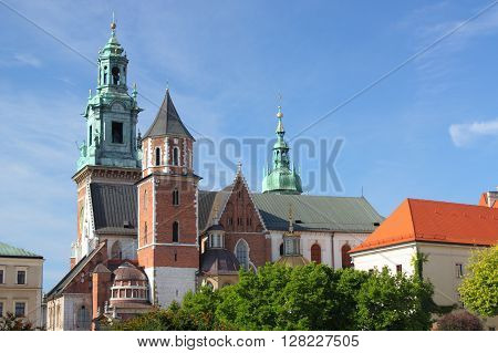 Krakow, Poland - The Cathedral and the Royal Castle on Wawel Hill.