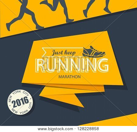 Running marathon and jogging emblem, label and badge, vector illustration.