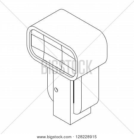 Lighting flash in front for camera icon in isometric 3d style on a white background