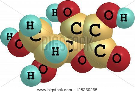 Structural model of Ascorbic Acid known as Vitamin C. Isolated on white background. 3d illustration