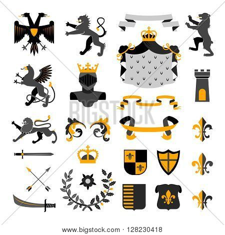 Heraldic royal symbols emblems design and coat of arms elements collection golden black abstract isolated vector illustration