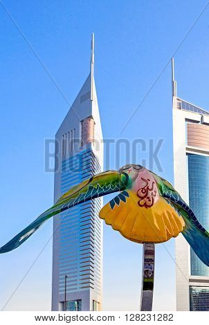 Dubai U.A.E. - November 15 2006: A falcon sculpture in front of the Emirates Towers in the business area of the Sheik Zaied Road.