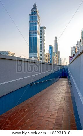 Dubai U.A.E. - November 15 2006: Perspective view of the architectures of the business area of the Sheik Zaied Road.