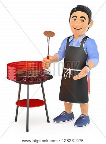 3d young people. Man in shorts cooking on a barbecue. Isolated white background.