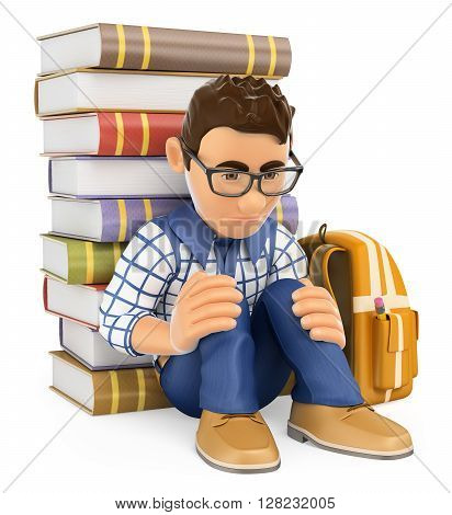 3d education people. Young student depressed. Bullying. Isolated white background.