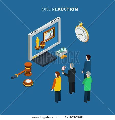 Online auction isometric with bidding man and different lots on the monitor vector illustration