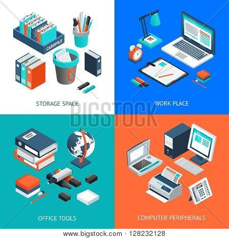 Office 2x2 isometric design concept set with storage space work place office tools and computer peripherals on colorful backgrounds isolated vector illustration