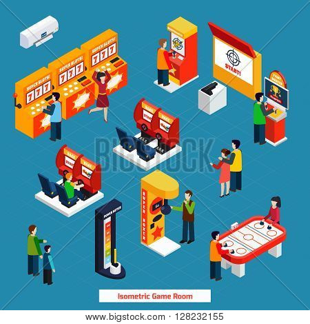 Isometric poster of public game room with different video games slots racing and arcade games vector illustration