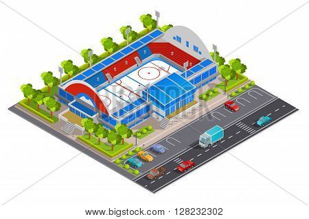Sport complex stadium facilities for games and celebrations with parking lot abstract isometric composition banner vector illustration